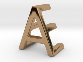 AE EA - Two way letter pendant in Polished Brass