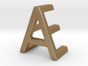AE EA - Two way letter pendant in Matte Gold Steel