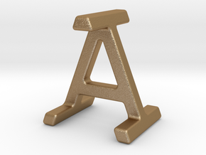 AI IA - Two way letter pendant in Matte Gold Steel