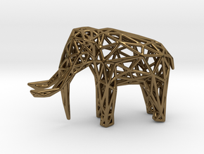 Elephant Wireframe 50mm in Polished Bronze