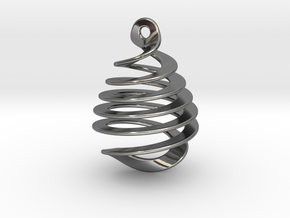 Earring Twisted in Fine Detail Polished Silver
