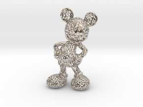 Mickey Voronoi 100mm in Rhodium Plated Brass