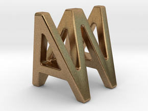 AW WA - Two way letter pendant in Natural Brass