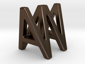 AW WA - Two way letter pendant in Polished Bronze Steel