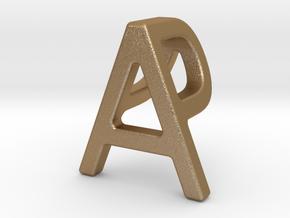 AP PA - Two way letter pendant in Matte Gold Steel