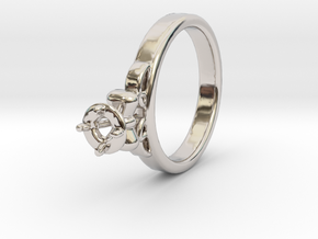 Ø20.4 Mm Diamond Ring Ø4.8 Mm Fit with bow in Platinum