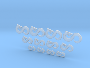 Infinity Snake - 12 Icons Various Size in Smooth Fine Detail Plastic