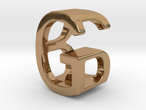 Two way letter pendant - BG GB in Polished Brass