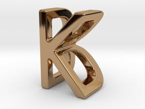 Two way letter pendant - BK KB in Polished Brass
