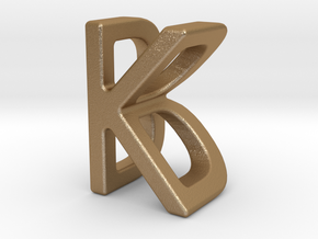 Two way letter pendant - BK KB in Matte Gold Steel