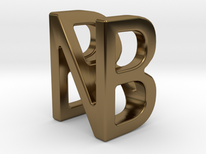Two way letter pendant - BN NB in Polished Bronze