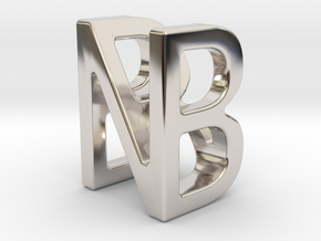 Two way letter pendant - BN NB in Rhodium Plated Brass