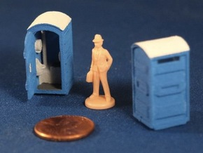 Port-a-Potty (x2) HO Scale in White Natural Versatile Plastic