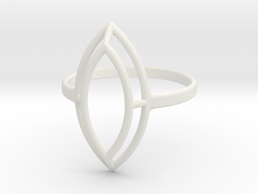 Marquise Simple Wire Ring - US Size 09 in White Natural Versatile Plastic