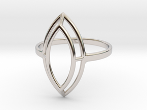 Marquise Simple Wire Ring - US Size 09 in Rhodium Plated Brass