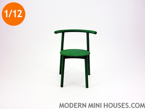 Solo Modern Designer Chair 1:12 scale in Green Processed Versatile Plastic
