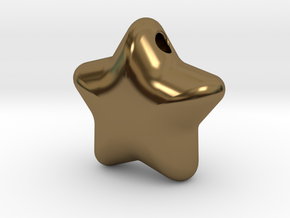 Cute candy STAR (with hole) in Polished Bronze