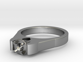Ø20.57 Mm Diamond Ring Ø4.8 Mm Fit With Heart in Natural Silver