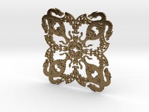Dragonflake 2 - 2mm depth in Polished Bronze