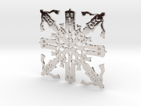 Doctor Who: Fourth Doctor Snowflake in Rhodium Plated Brass