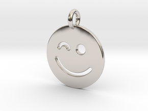 Smilie ( ) in Rhodium Plated Brass