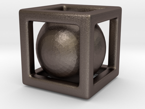 Ball In A Box in Polished Bronzed Silver Steel