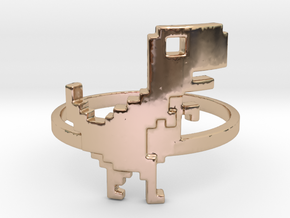 8-Bit T-rex Ring in 14k Rose Gold Plated Brass: 6 / 51.5