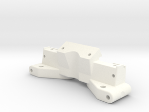 NIX62083 - RC10 front bulkhead with top deck mount in White Processed Versatile Plastic