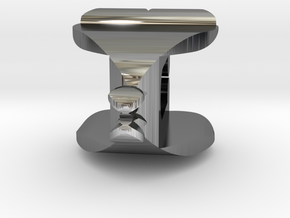 I♥U Shape 2 - View 1 in Fine Detail Polished Silver