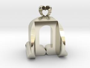 I♥U Shape 2 - View 3 in 14k White Gold