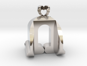 I♥U Shape 2 - View 3 in Rhodium Plated Brass