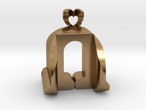 I♥U Shape 2 - View 3 in Natural Brass