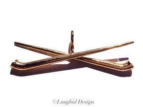 two crossed Alphorn in Polished Bronze