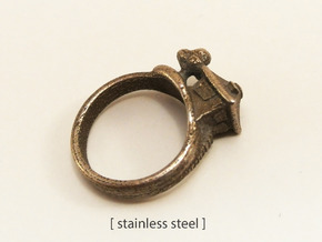 Little House On The Hill Ring in Polished Bronzed Silver Steel