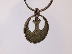 Rebel Keychain in Polished Bronzed Silver Steel