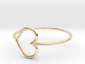 Size 6 Love Heart in 14k Gold Plated Brass