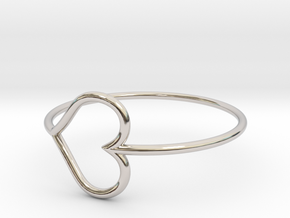 Size 9 Love Heart in Rhodium Plated Brass