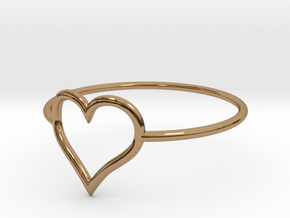 Size 6 Love Heart A in Polished Brass