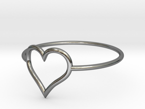 Size 6 Love Heart A in Fine Detail Polished Silver