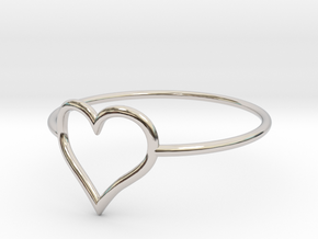 Size 7 Love Heart A in Platinum