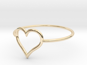 Size 8 Love Heart A in 14K Yellow Gold