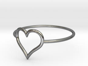 Size 9 Love Heart A in Fine Detail Polished Silver