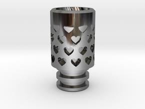 Vanishing Hearts Driptip in Fine Detail Polished Silver