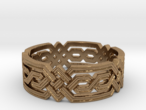 Fantasy Geometric Knot Ring in Natural Brass