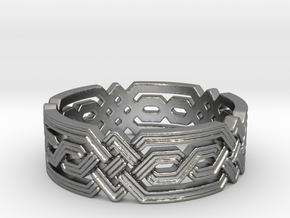 Fantasy Geometric Knot Ring in Natural Silver