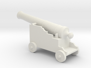 Miniature 1:48 Pirate Cannon in White Strong & Flexible
