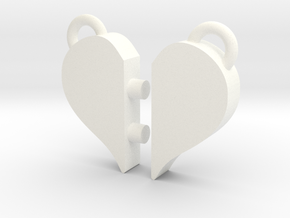 Heart Pendants in White Processed Versatile Plastic