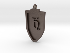 Medieval H Shield Pendant in Polished Bronzed Silver Steel