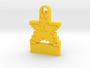 8-Bit Star Sprite Key Chain in Yellow Strong & Flexible Polished