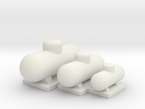 Tank Assortment - 'O' 48:1 Scale in White Natural Versatile Plastic